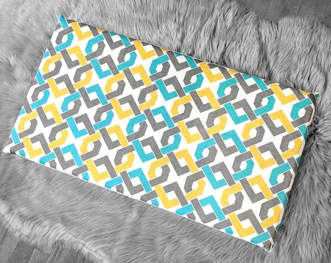 Geometric Pattern, Yellow Turquoise White IKEA HEMMAHOS Bench Pad Slip Cover