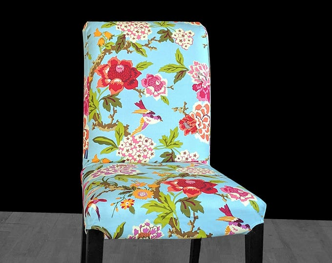 Blue Colorful Flower IKEA HENRIKSDAL Chair Cover