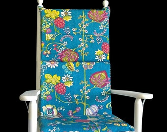 Retro Flowers Rocking Chair Cushion, Floral Rocking Chair Inserts And Covers Set