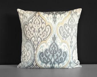 Light Yellow Gray Ikat Pattern Pillow Cover