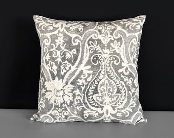 "Silver Gray Indian Floral Pillow Cover, 18"" x 18"""