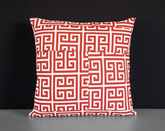 Patchwork Red Greek Print Pillow Cover