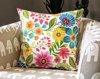 Pillow Cover - Colorful Flowers