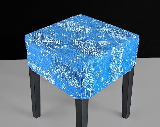 Indian Print, Cobalt Blue Ikat IKEA Seat Cover