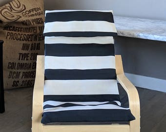 Black Beige Stripe IKEA KIDS POÄNG Cushion Slip Cover
