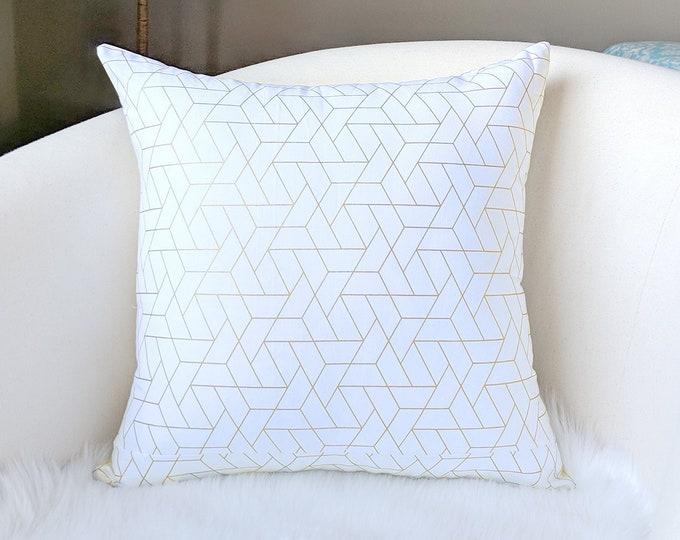 Metallic Gold White Geometric Pillow Cover