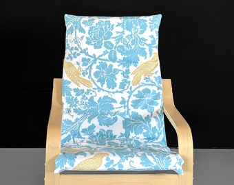 Blue Yellow Cockatoo Flower Print IKEA KIDS POÄNG Cushion Slip Cover