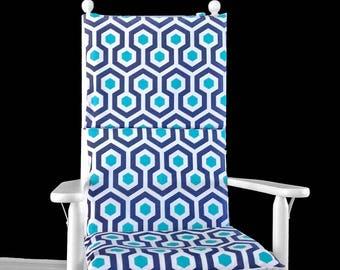 Blue Hexagon Geometric Rocking Chair Cushion Cover