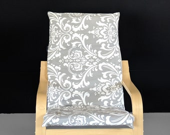 Kids Floral Damask Ikea Poang Chair Cover, Children's Chevron Poang Cover, Gray
