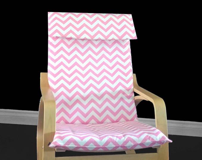 Custom Ikea Chair Cover, IKEA POÄNG Cushion Slip Cover, Baby Pink White Chevron