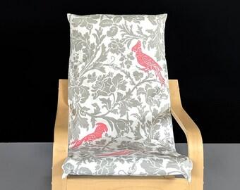 Pink Cockatoo Flower Print IKEA KIDS POÄNG Cushion Slip Cover