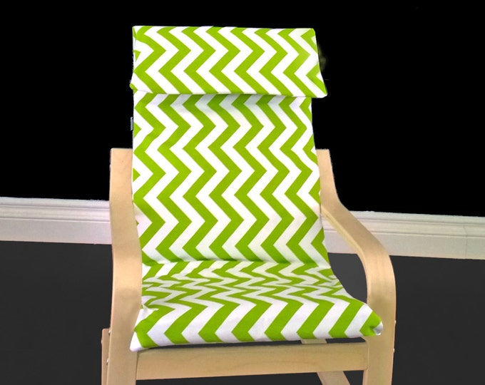 Green White Chevron IKEA KIDS POÄNG Cushion Slip Cover, Ready to Ship