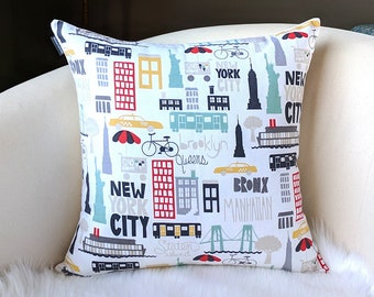 New York City Boroughs Pillow Cover, Brooklyn, Queens, NY, Bronx, Manhattan