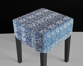 IKEA Stool Seat Cover, Zig Zag Pattern Navy Blue Print