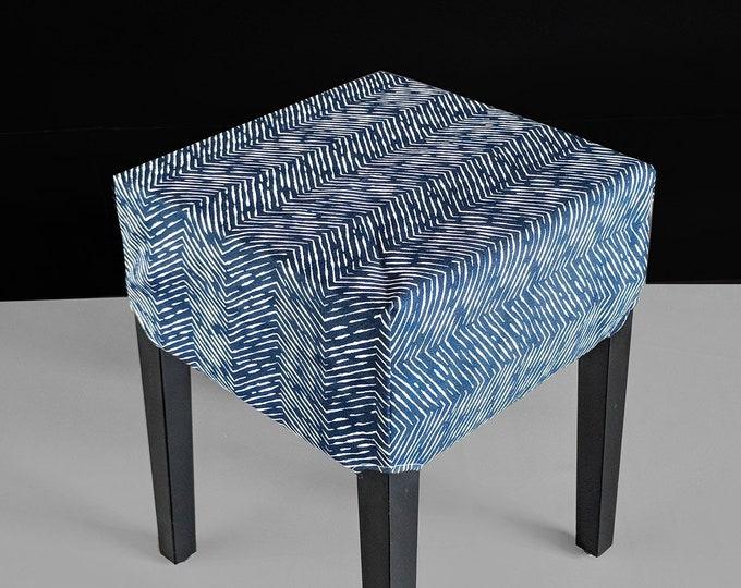 IKEA Stool Seat Cover, Zig Zag Pattern Navy Blue Print