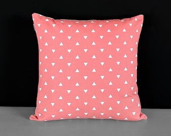 Coral Pink Triangles Pillow Cover