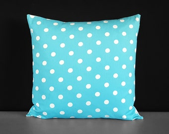 Turquoise Blue Polka Dot Pillow Cover