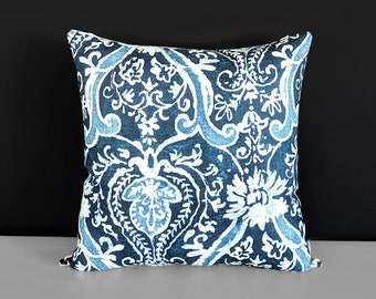 """Navy Blue Indigo Damask Pillow Cover, 18"""" x 18"""""""