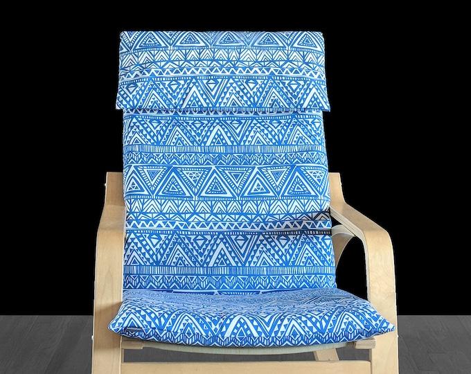 Blue Tribal Print IKEA POÄNG Cushion Slip Cover, African Style Ikea Seat Cover