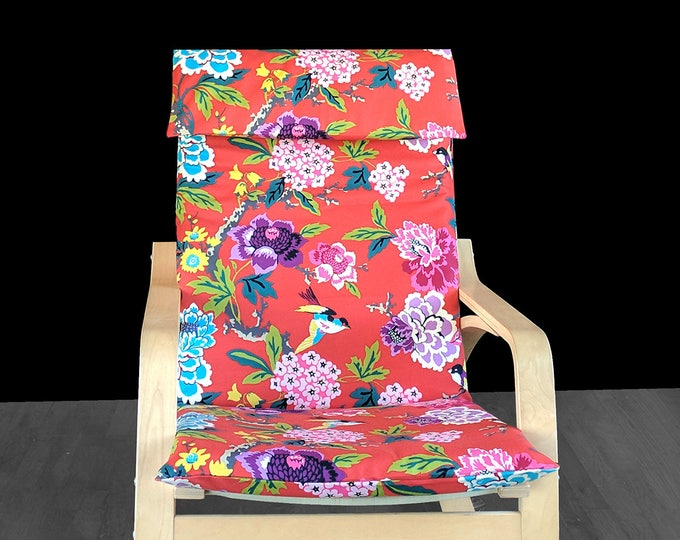 Red Flowers Ikea Poang Chair Cover, Customized Flower Print Ikea Seat Cover, Candid Moment Cinnabar