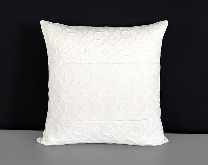 Patchwork White Embossed Pillow Cover Matelasse Cloud