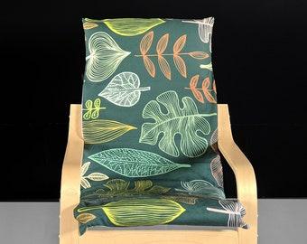 Green Leaf Print Ikea KIDS Poang Cushion Cover