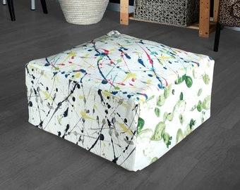 Ottoman Cover, Colorful Splatter Print Floor Pouf Cover, Bean Bag Slip Cover