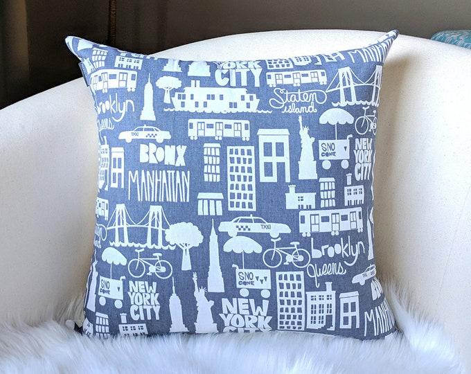 Blue Gray New York City Boroughs Pillow Cover, Brooklyn, Queens, NY, Bronx, Manhattan