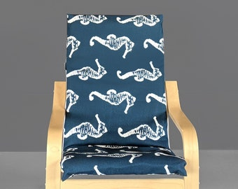 Navy Blue Seahorse Kids Poang Seat Cover