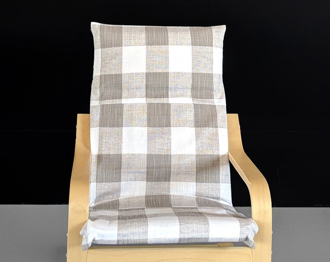 Beige Buffalo Check Pattern Ikea Kids Poang Chair Cover