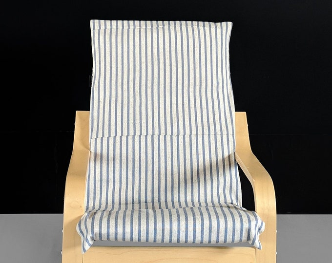 Blue Ticking Stripe IKEA KIDS POÄNG Cushion Slipcover