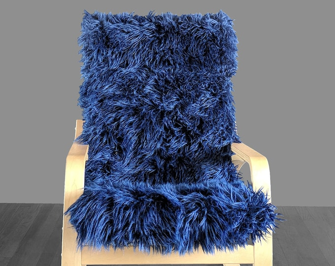 Navy Blue Fur IKEA POÄNG Cushion Slipcover, Custom Fur Ikea Chair Cover
