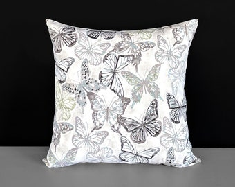 Gray Butterflies Pillow Cover