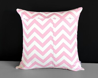 Patchwork Baby Pink Chevron Cushion Cover