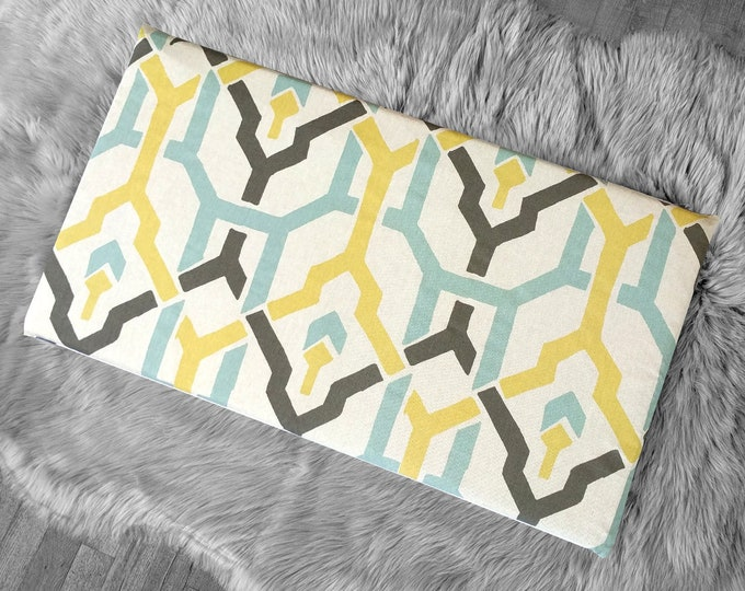 Brown Yellow Blue Geometric Print IKEA STUVA Bench Pad Slip Cover
