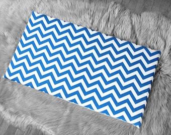 Chevron Pattern, Blue White IKEA STUVA Bench Pad Slip Cover, Zig Zag