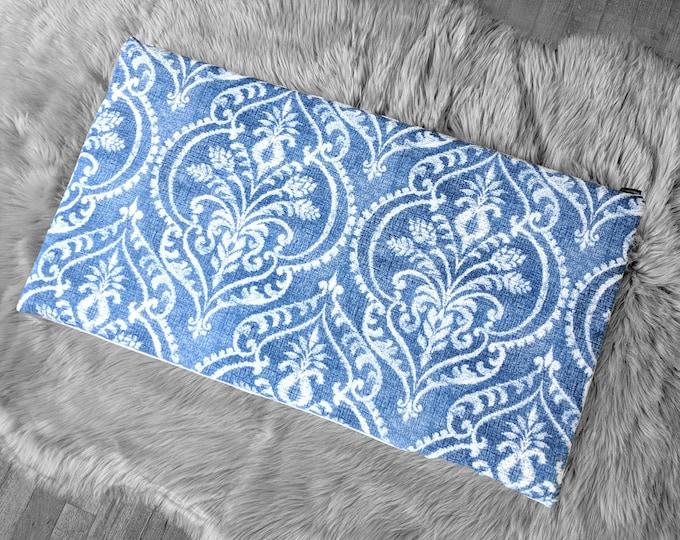 Blue Denim Damask Print, IKEA HEMMAHOS Bench Pad Slip Cover, Floral Indigo