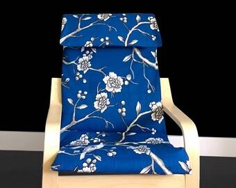 Blue Flower Print IKEA KIDS POÄNG Cushion Slipcover