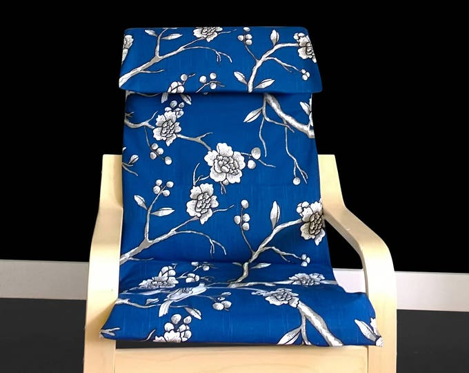 Blue Flower Print IKEA KIDS POÄNG Cushion Slipcover