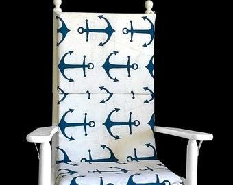 Big Navy Anchors Rocking Chair Cushion