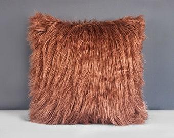 "Brown Shaggy Faux Fur Pillow Cover, 18"""