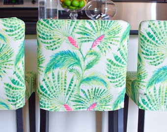 Green Pink Tropical Leaves HENRIKSDAL Stool Cover, Fern Leaf Henriksdal Slipcover