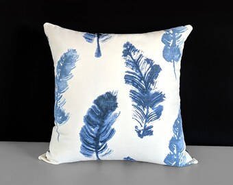 "Indigo Blue Feathers Pillow Cover 18"" x 18"""