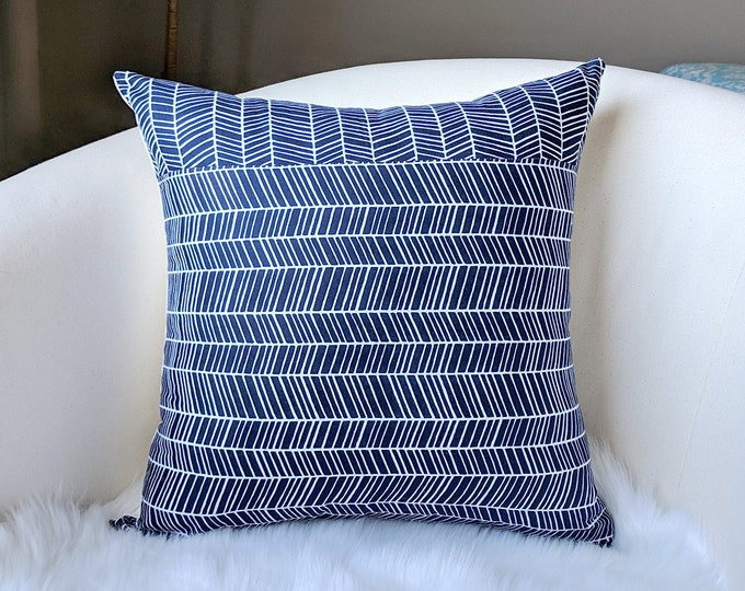 Throw Pillow Cover, Patchwork Navy Blue Herringbone