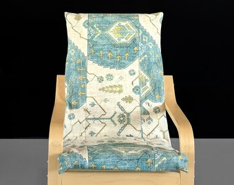 Childrens Ikea Poang Chair Cover, Blue Gray Indian Print