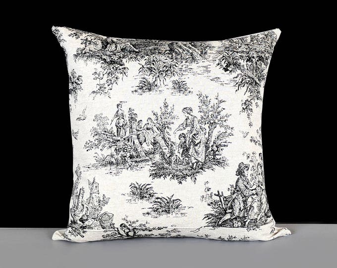 Natural Linen French Toile Black