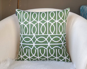 Patchwork Green Pillow Cover, Dwell Studio Bella Porte Watercress, 18""