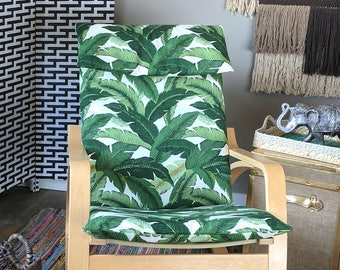 IKEA POÄNG Chair Covers, Tropical Leaf Summer House Ikea Decor, Tommy Bahama Indoor Outdoor Jungle Chair Cover