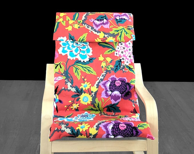 Red Floral IKEA Childrens POÄNG Cushion Slipcover