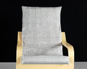 Scribble Lines Gray Ikea KIDS POANG Cushion Slipcover